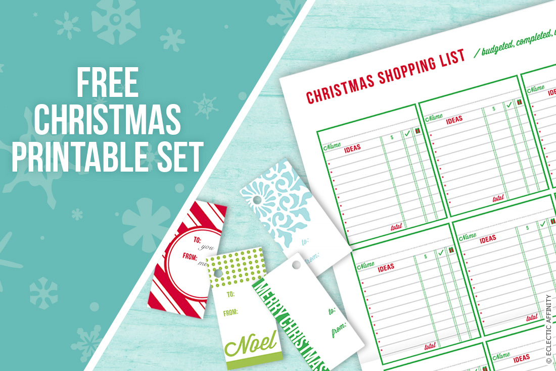 Christmas Tags & Shopping List — free printables at Eclectic Affinity