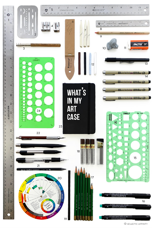 layout of art supplies, pencils, pens, rulers, erasers, etc.