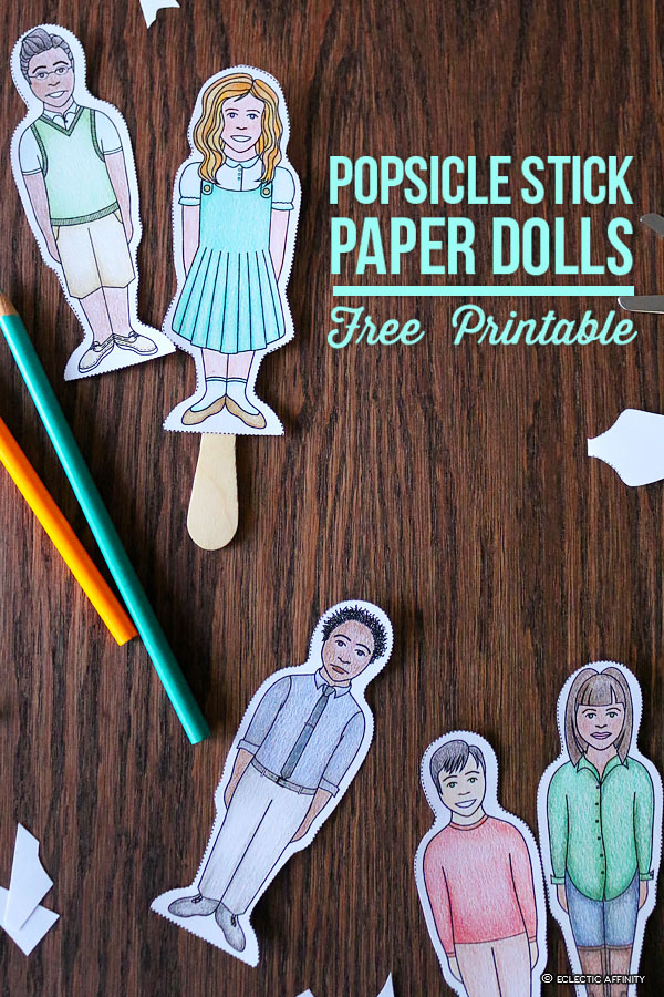Popsicle Stick Paper Dolls, free printable