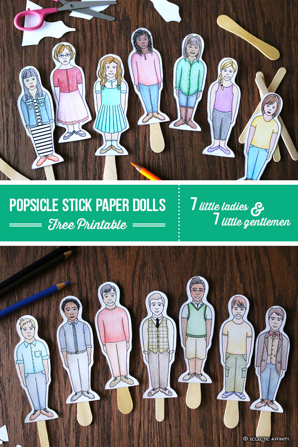 Popsicle Stick Paper Dolls, Free printable with 7 little ladies and 7 little gentlement