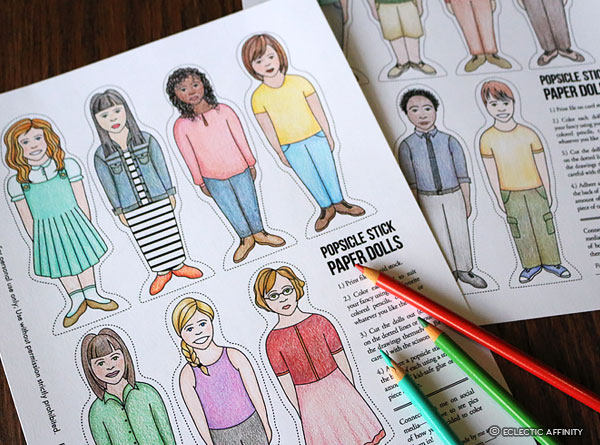 Popsicle Stick Paper Dolls, colored pencils