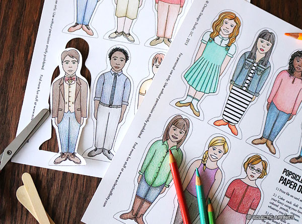 Popsicle Stick Paper Dolls, scissors, colored pencils