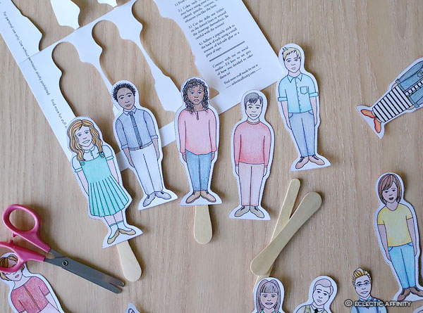 Popsicle Stick Paper Dolls, scissors, cut out sheet
