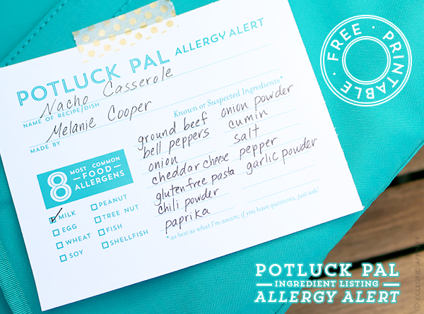 Download our free Potluck Pal Allergy Alert printable for your next gathering | Eclectic Affinity