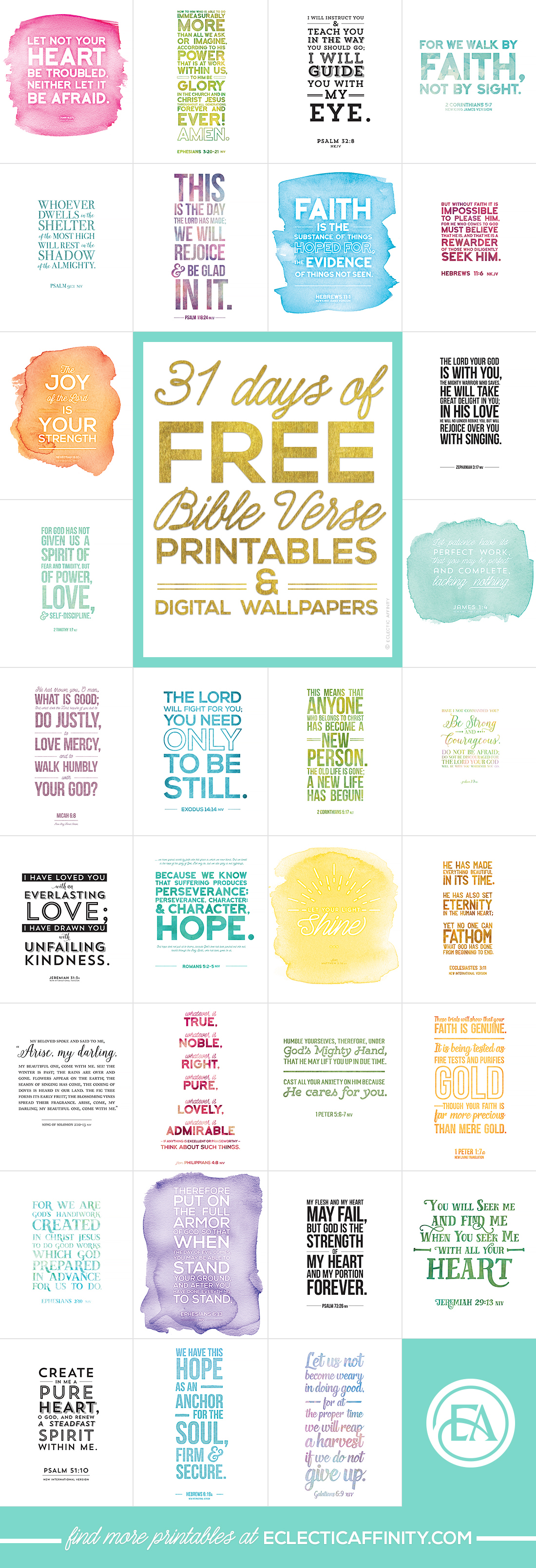 31 Days of Reminders for Your Soul + a story of faith // Bible verse printables & matching digital wallpapers | Eclectic Affinity