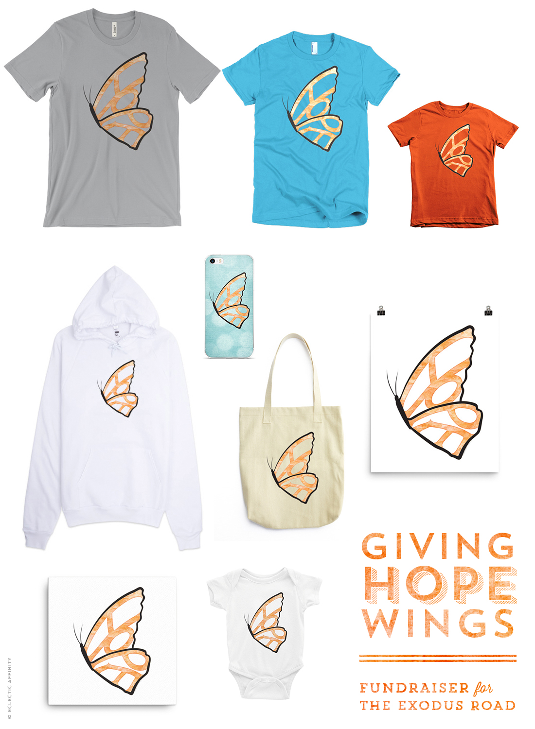 Hope Needs Wings fundraiser for The Exodus Road - products available for sale at Charm Design Studio
