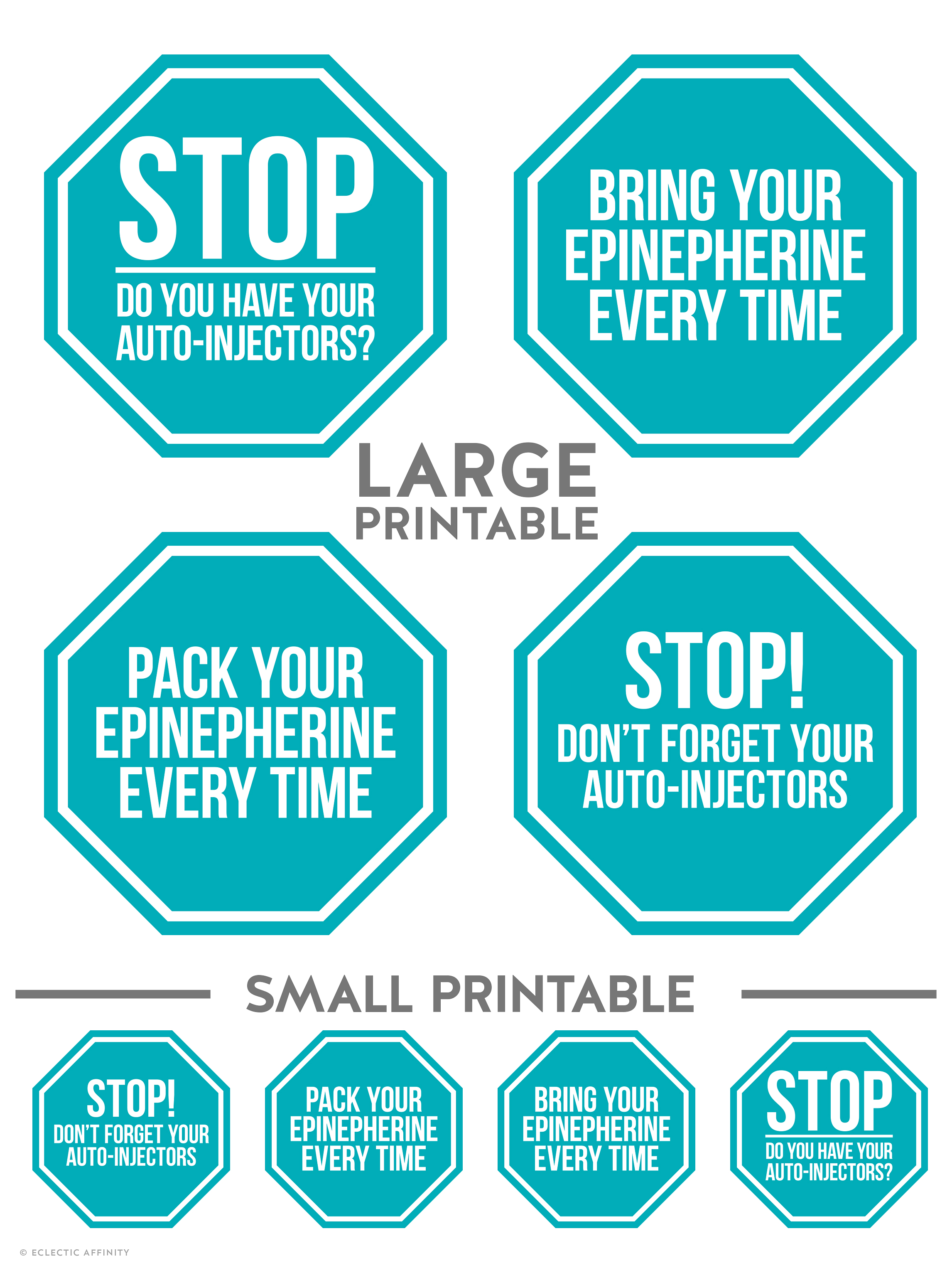 Auto-Injector Reminder Printable; 4 large and 4 small