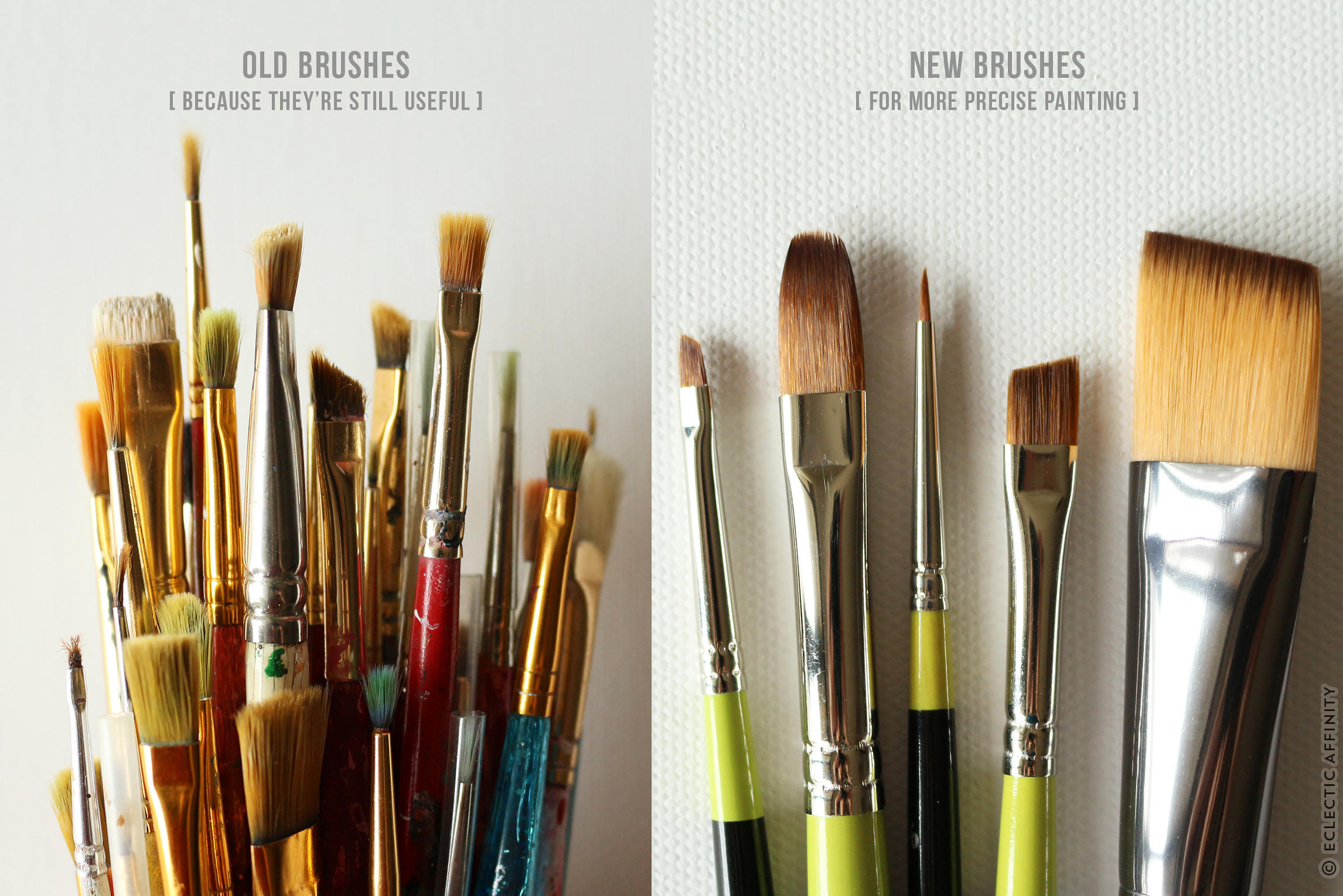 Paint brushes, old and new