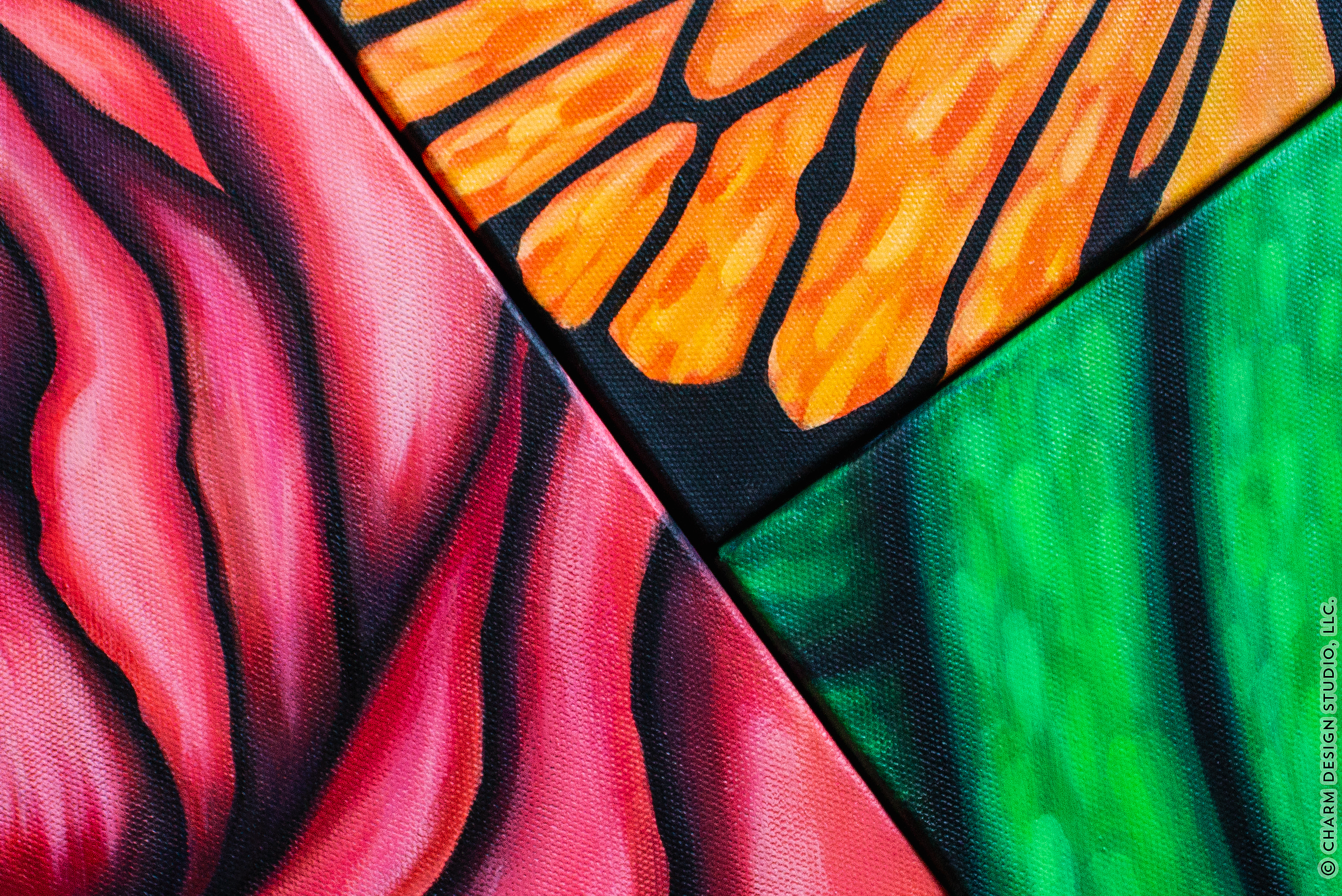 view of finished acrylic paintings of a rose, butterfly, and leaf on canvas | image © Charm Design Studio, LLC.