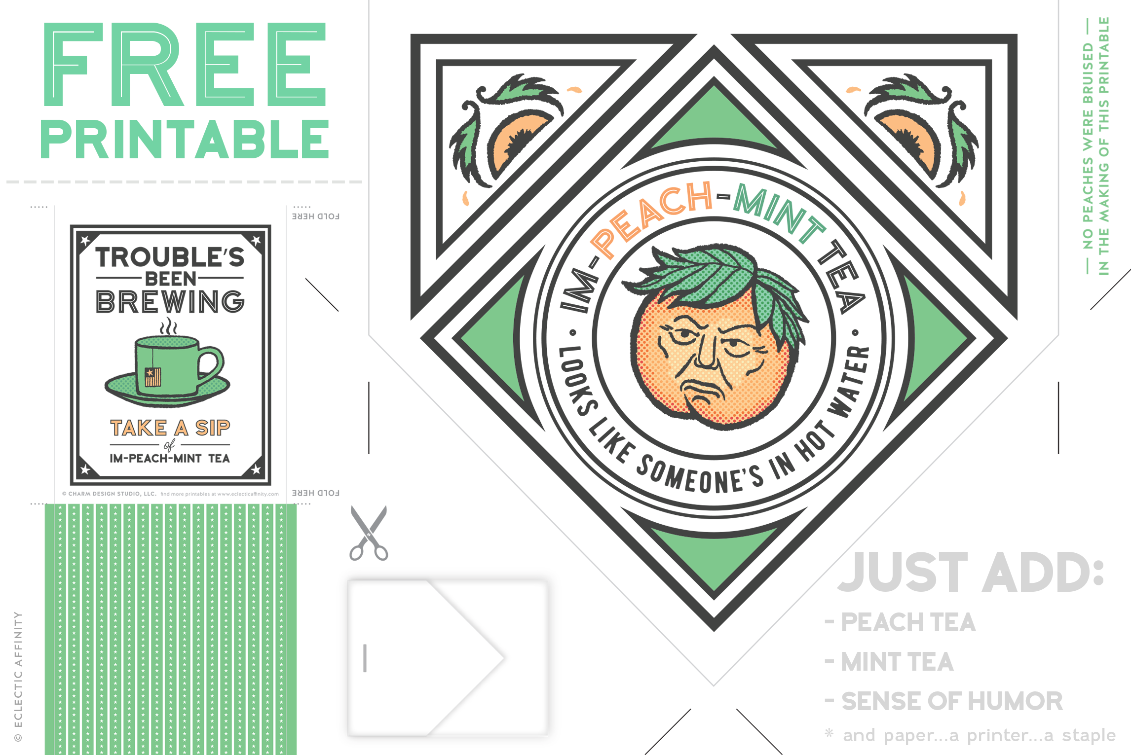 Download this free Im-Peach-Mint Tea Printable at Eclectic Affinity