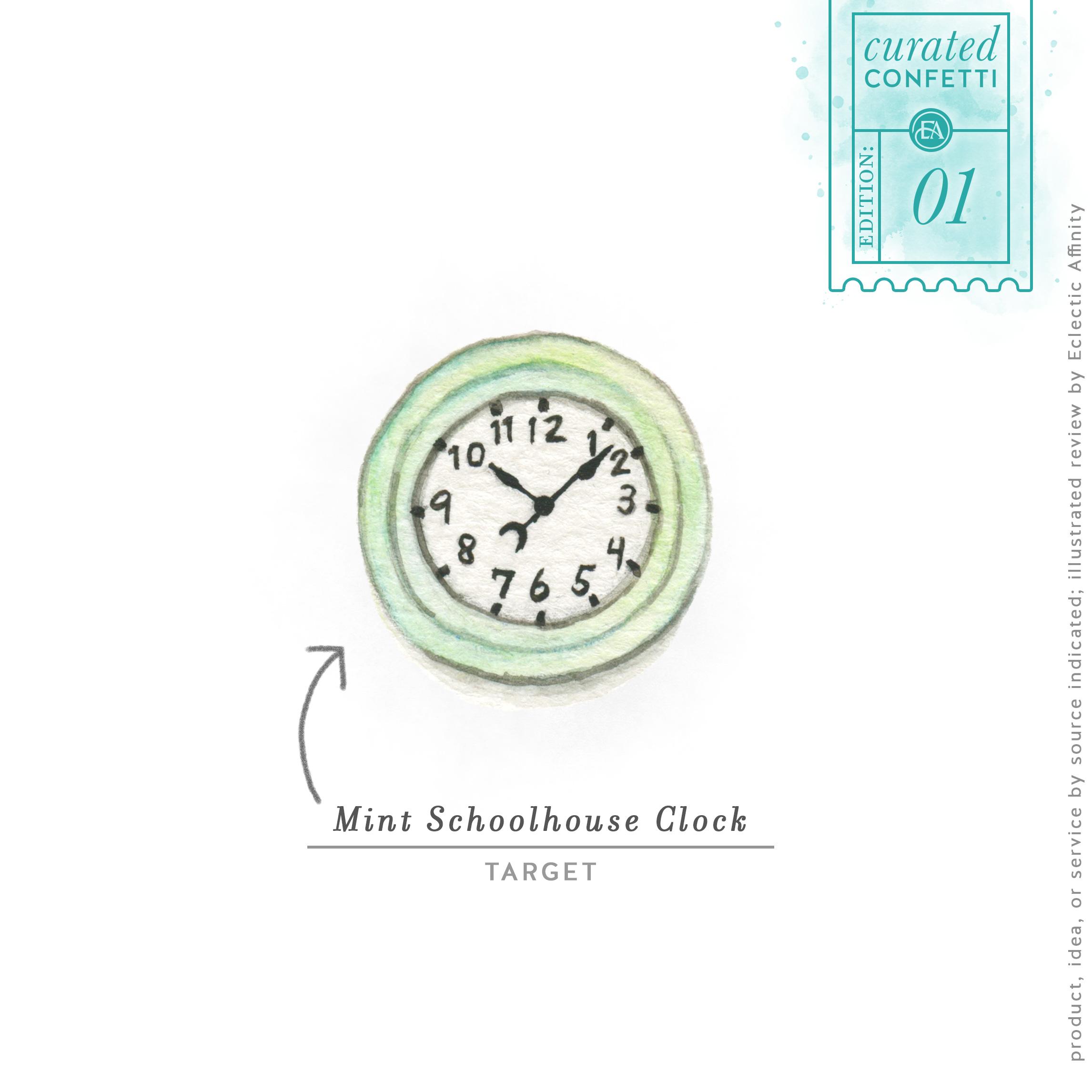 Mint Schoolhouse Clock